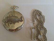 F35 Common Carp Emblem on a polished silver case GIFT quartz pocket watch fob