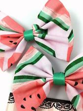 Watermelon Pink and Green Handmade Hair Bow Summer Fabric Hair Clip Accessory