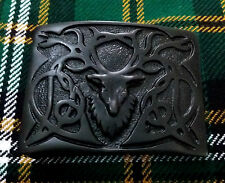 Men's Kilt Belt Buckle Stag Head Black Chrome/Highland Belt Buckles Stag head