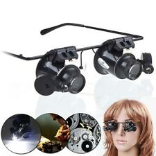 Eye 20x Magnifying Magnifier Glasses Loupe Len Jeweler Watch Repair LED Light WT