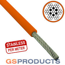 1.2-2mm ORANGE PVC Covered Stainless Steel Wire Rope Cable 7x7 (Price per Metre)