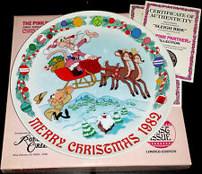 "1982 Royal Orleans ""Sleigh Ride"" Christmas Plate - Pink Panther Collection Santa"