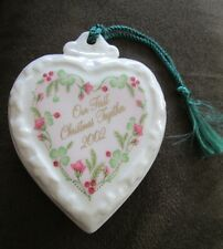 Belleek Porcelain China 2002 OUR FIRST CHRISTMAS TOGETHER Heart Ornament NWOB