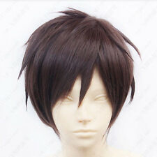 HOT Attack on Titan Eren Jaeger Short Dark Brown Cosplay Wig free shipping K8
