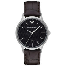 Emporio Armani Renato AR2480 Black / Brown Leather Analog Quartz Men's Watch