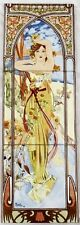 Daytime Dash Tile Panel Mucha Lady Decorative Tile Panel Hand Made in UK
