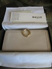 Authentic NIB BALLY VOLVER~13 Putty Calf Grained LONG WALLET 6157007 IVORY!