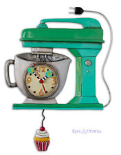 "Funky GREEN ""Vintage Mixer"" Cafe Designer Wall Clock by Allen Designs"