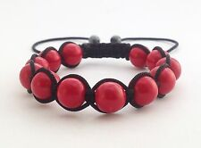 Womens Red Coral Beads Shamballa Friendship Beaded Casual Boho Jewelry Bracelet