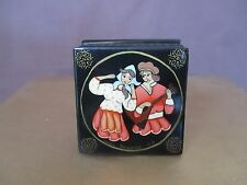 Russian Lacqued Hand Painted+Signed Trinket Box with Lady, Man And  Balalaika