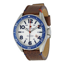 Tommy Hilfiger White Dial GMT Brown Leather Mens Watch 1791132