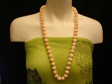 "VINTAGE TAIWAN NATURAL LIGHT  PINK CORAL CARVED BEADS NECKLACE  32"" L / 13 MM"