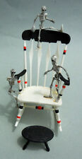 DOLLHOUSE MINIATURE ~ HALLOWEEN CHAIR WITH SKELETONS 1:12