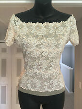 Cache boatneck cap sleeve white & nude floral lace top w/ netted lining Sz. Med