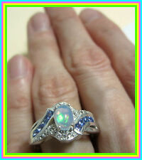 Genuine Ethiopian Welo Opal Tanzanite Topaz Ring Sterling Silver 925 sz 6 7 8