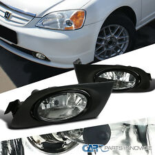 2001-2003 Fit  Honda Civic 2/4dr Clear Fog Lights Driving Bumper Lamp w/ Switch