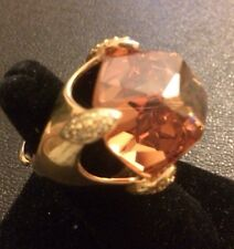 GP Sterling Silver & Cubic Zirconia Cocktail Ring Size 7 Champagne Center Stone