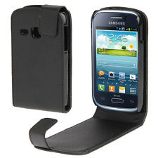 COVER CUSTODIA FLIP CASE PER SAMSUNG GALAXY YOUNG GT S6310 ECO PELLE FODERO NERO
