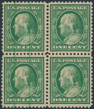 #374 VAR. BLK/4 PSE CERT MINT OG NH W/ GREEN PINTER'S MARKING @ L STAMPS BR1220