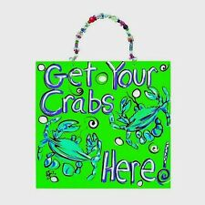 WHIMSICAL HANGING CRAB SIGN in BRIGHT NEON COLORS w/BEADED HANGER BY RYAN BOWERS