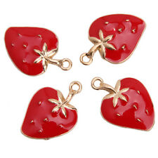 20x Hot Red Enamel Gold Plated Strawberry Charms Alloy Pendants Jewelry Making D
