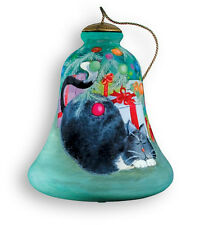 PURRRFECT CHRISTMAS Cat Ornament Ne' Qwa Art Reverse Painted Glass New Kitty