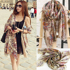 Fashion Women Cotton Voile Print Scarf Wrap Lady Long Shawl Large Scarves Stole