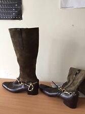 Ralph lauren collection superbe cuir daim marron bottes, uk 4, us 7