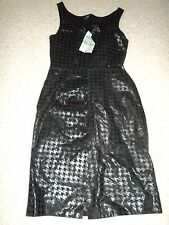 CACHE GENUINE LEATHER CHEKERED PATTERNT FITTED LINED ELEGANT DRESS 4 NWT $298