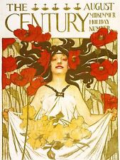 ADVERTISING MAGAZINE COVER CENTURY NOUVEAU FLOWER HAIR ART POSTER PRINT LV948