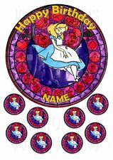 ALICE IN WONDERLAND CAKE TOPPER ROUND EDIBLE ICED ICING FROSTING + 8 CUPCAKE