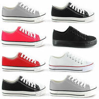 Womens Ladies Girls Lace Up Flat Skater Trainer Sneaker Pumps Canvas Size 3-8