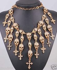 New Design huge skull Statement crystal chunky chain charm silver necklace 1204