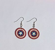 Captain America Earrings Sheild Super Hero Charms