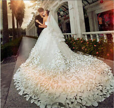 2017 Wedding Dresses Gorgeous Petals Formal Super Long Big Train Bridal Gown