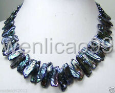 New abnormal shape freshwater Cultured black lute pearl necklace
