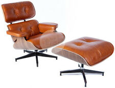 Replica Eames Lounge Chair & Ottoman Premium Vintage Italian Leather Walnut