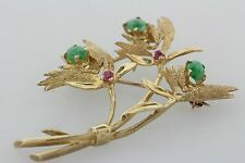 Solid 14K Gold Vintage Jade Cabochon and Pink Tourmaline Flowers Pin Brooch