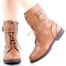 Womens Fashion Shoes Combat Military Army Boots Flat Buckle Lace Up Round Toe