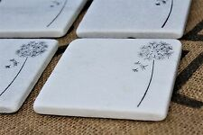 White Carrara Marble Coasters, Stamped Drink Coaster, Absorbent Stone Dandelion