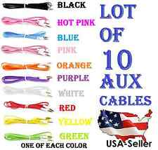 LOT OF 10 AUX CABLES 3.5mm AUXILIARY CORD Male Stereo Audio Cable iPod MP3 CAR