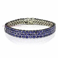 Three Row 30ct AAA Tanzanite White Gold on 925 Sterling Silver Tennis Bracelet 3