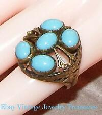 Vintage Antique Turquoise Glass Brass Filigree Ornate Ring Adjustable