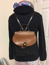 Dooney And Bourke Black Nylon And Leather Backpack