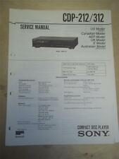 Sony Service Manual~CDP-212/312 CD Compact Disc Player~Original~Repair