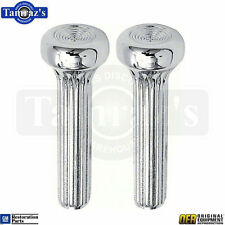 68-72 for various GM Door Panel Splined Ribbed Lock Pull Knobs Chrome METAL Pair