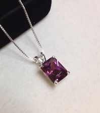 GORGEOUS 3ct Rhodolite Garnet Emerald Cut  Pendant Sterling Silver Necklace NWT