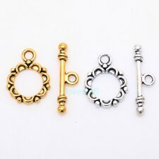 30 SETS TIBETAN SILVER LACEWORK CIRCLE TOGGLE CLASPS HOOKS CONNECTORS