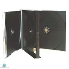 10 x 4 Way Black CD Jewel Case 23mm Spine Holds 4 Discs Replacement case