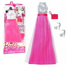 Barbie - Trend Mode für Barbie Puppe Kleidung - Abendkleid Kleid silber rosa
